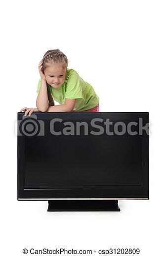 The little girl looks lsd tv - csp31202809