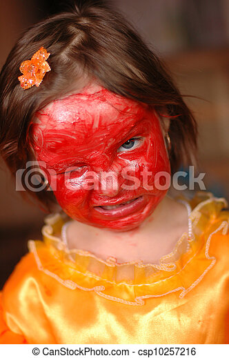 The little girl with a make-up on the face - csp10257216