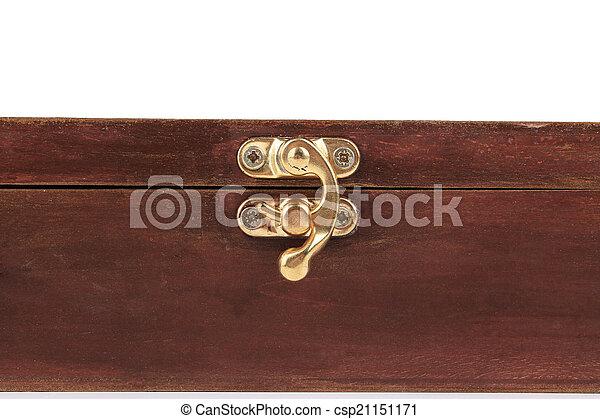 The lock of a wooden casket. - csp21151171