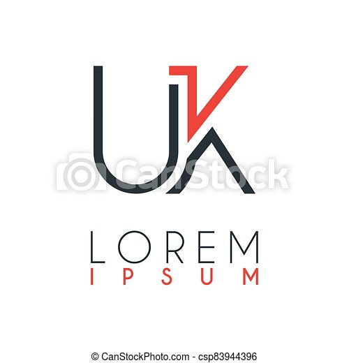 The logo between the letter U and letter K or UK with a certain distance and connected by orange and gray color - csp83944396