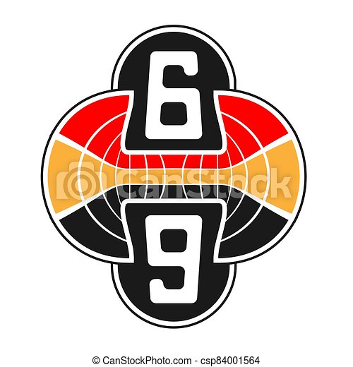 the logo is the abstraction of a sports stadium figures 69 on white isolated background. Vector image - csp84001564