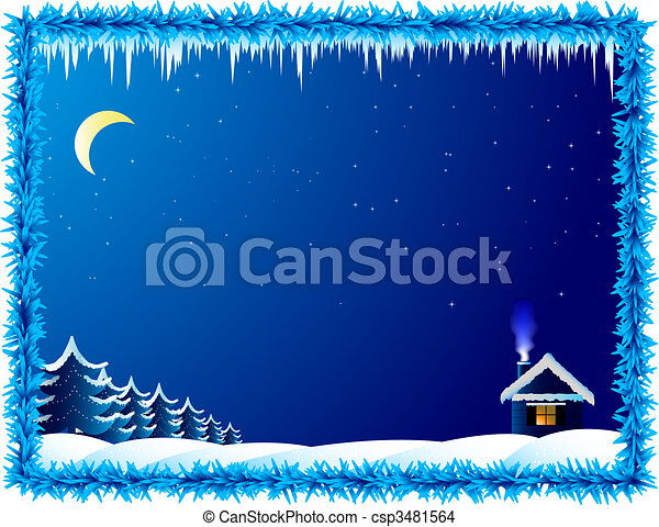 The lonely house in frosty night - csp3481564