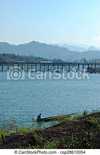 the longest wood bridge in thailand  - csp28610054