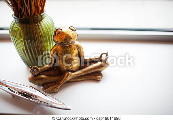 the lotus position on white background frog in a yoga