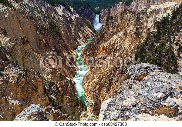 The Lower Falls in Yellowstone National Park - csp63427368