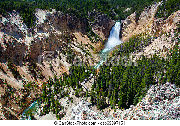 The Lower Falls in Yellowstone National Park - csp63397151