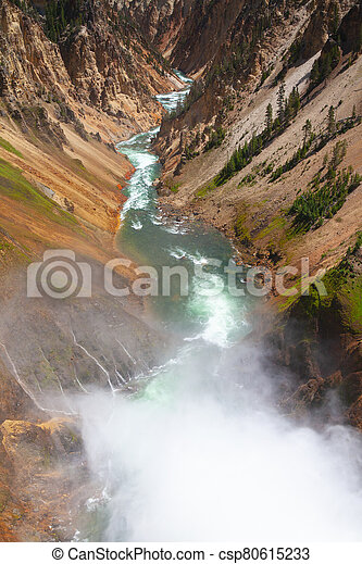 The Lower Falls in Yellowstone National Park - csp80615233