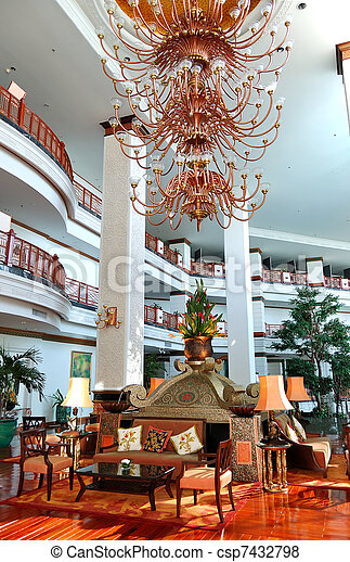 The luster at the lobby of luxury hotel, Pattaya, Thailand - csp7432798