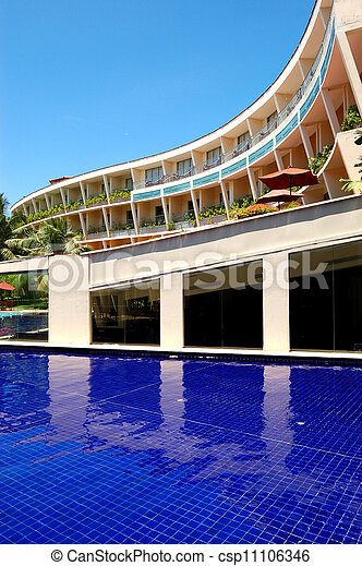 The luxury hotel with swimming pool and bar, Bentota, Sri Lanka - csp11106346