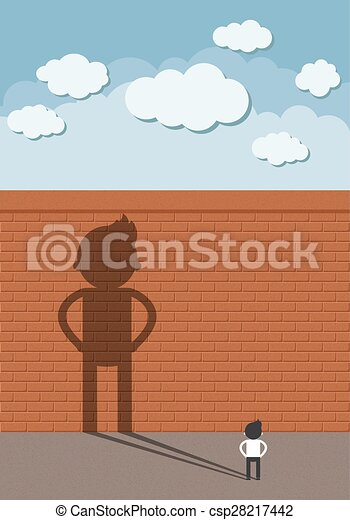 the man standing in front of a high walls - csp28217442