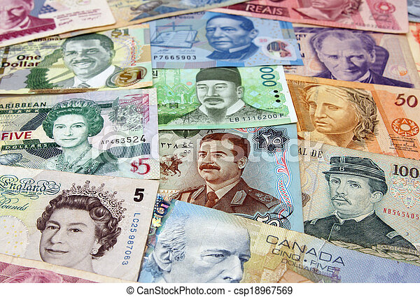 The many different faces of money from around the world - csp18967569