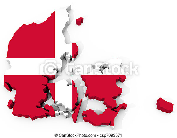 The Map of denmark with flag - csp7093571