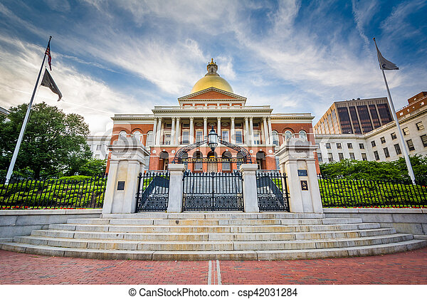 The Massachusetts State House, in Beacon Hill, Boston, Massachusetts. - csp42031284
