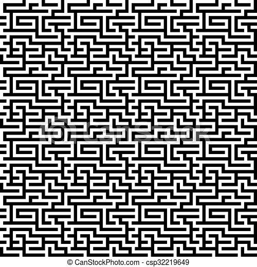 The Maze Labyrinth Pattern Endless Seamless Vector Mesmerizing Labyrinth Pattern