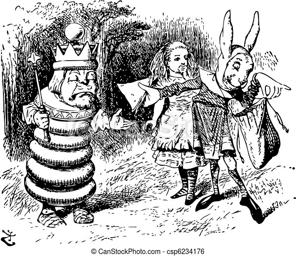 The Messenger Hands a Sandwich to the White King - Through the Looking Glass and what Alice Found There original book engraving - csp6234176