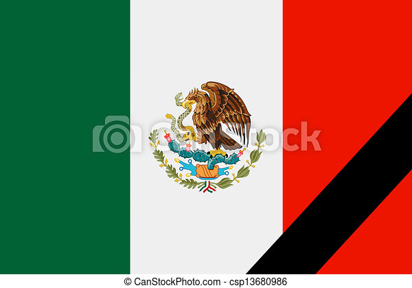 The Mexican Flag In Mourning Style Illustration