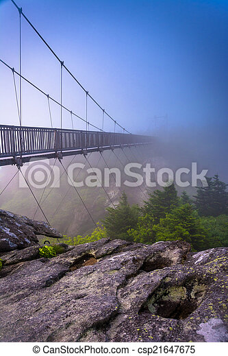 The Mile-High Swinging Bridge in fog, at Grandfather Mountain, N - csp21647675