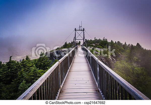 The Mile-High Swinging Bridge in fog, at Grandfather Mountain, N - csp21647692
