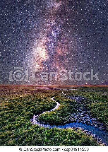The Milky Way rises over the grass field, Thailand - csp34911550