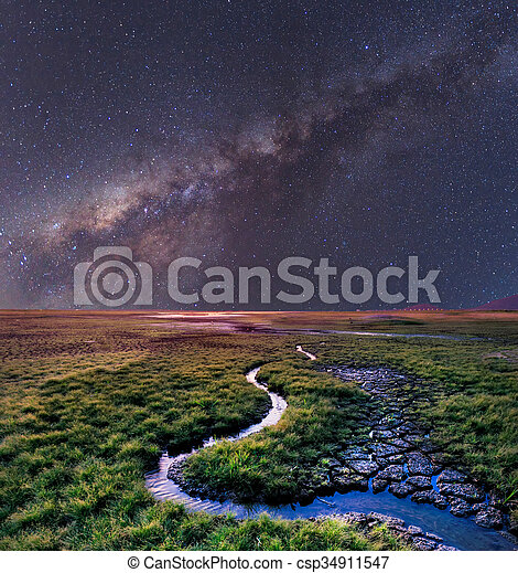 The Milky Way rises over the grass field, Thailand - csp34911547
