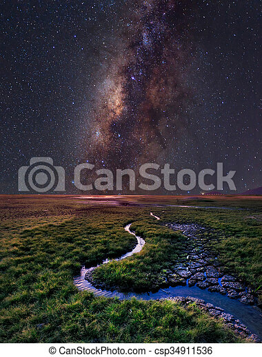 The Milky Way rises over the grass field, Thailand - csp34911536