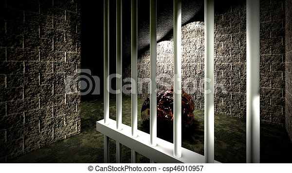 the mind of monster inside prison cell 3d rendering the mind of