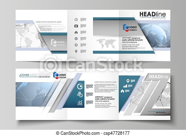 The minimalistic vector illustration of the editable layout. Two modern creative covers design templates for square brochure or flyer. World globe on blue. Global network connections, lines and dots. - csp47728177