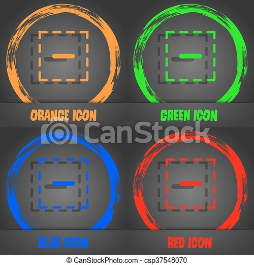 The minus in a square icon. Fashionable modern style. In the orange, green, blue, red design. Vector - csp37548070
