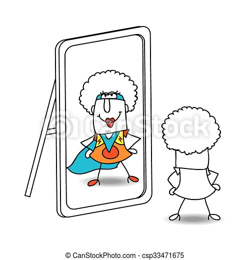 The mirror and funky supergirl - csp33471675