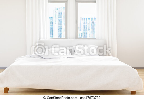 The Modern Of White Bedroom Bed Sheets And Pillows ,comfort And Bedding  Concept, 3d Illustration