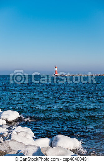 The mole in Warnemuende (Germany) in Winter - csp40400431