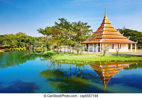 The Mondop Housing Footprints of the Lord Buddha, Thailand - csp5557194