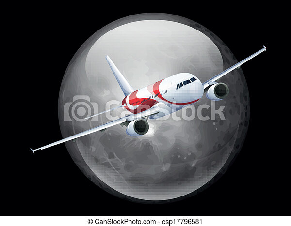 The Moon and Plane - csp17796581