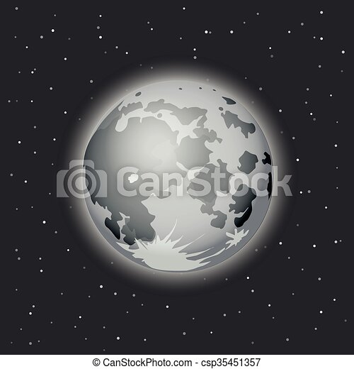 The Moon in space vector illustrati - csp35451357