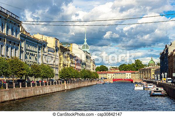 The Moyka River embankment in Saint Petersburg - Russia - csp30842147