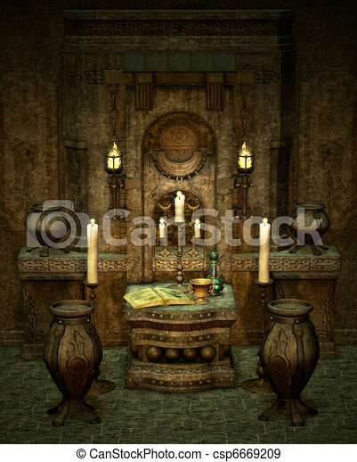 The Mysterious Altar A Room With Altar In Fantasy Style