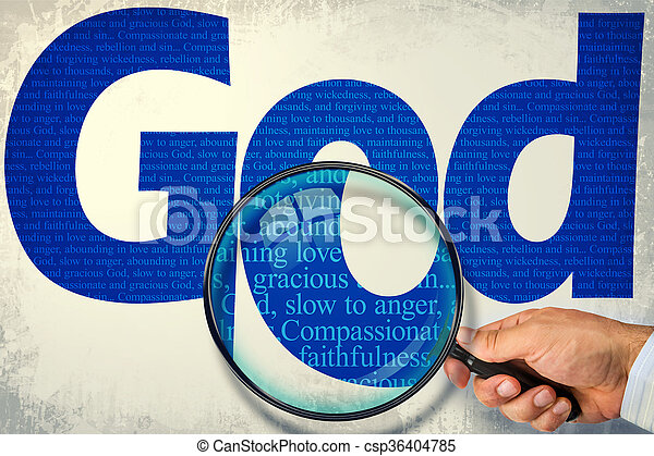 The name GOD under observation with magnifying glass - csp36404785
