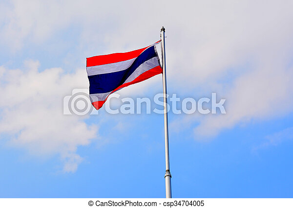 The National Flag of Thailand on blue sky background - csp34704005