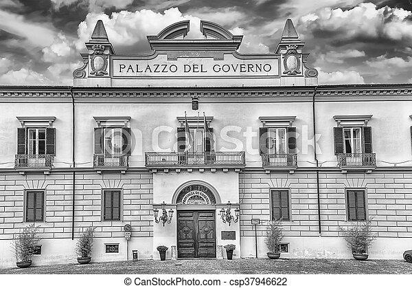 The neoclassic facade of Palazzo del Governo, Cosenza, Italy - csp37946622