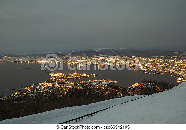 The night view of hakodate from the mount hakodate in winter season. - csp66342195