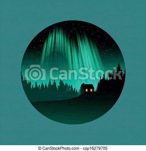 The Northern Lights A Forest And House Silhouetted By