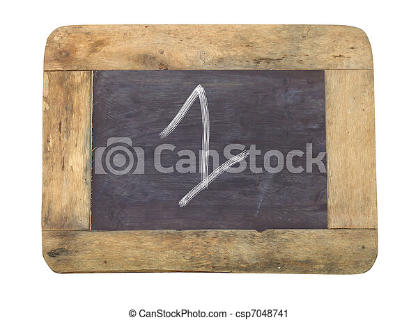 """The number """"1"""" written with white on a blackboard - csp7048741"""