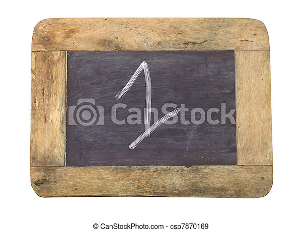 """The number """"1"""" written with white on a blackboard - csp7870169"""