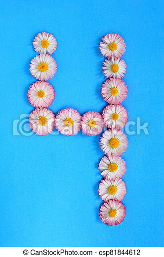 The number 4 is written in white pink flowers on a blue background - csp81844612