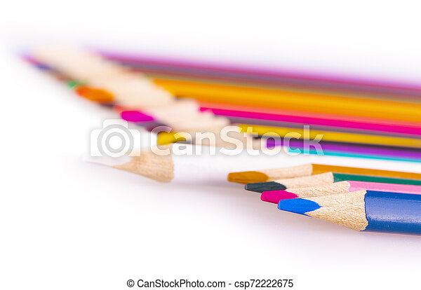 The number of colored pencils on a white background - csp72222675