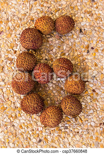 The number six 6 made out of fruit lichee - csp37660848