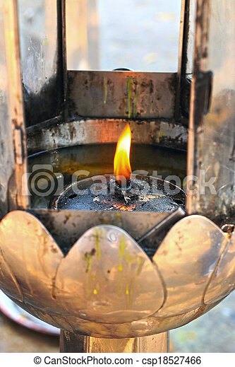 The oil lamps in the temple. - csp18527466