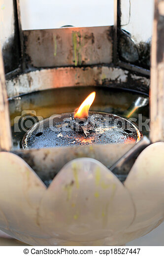 The oil lamps in the temple. - csp18527447