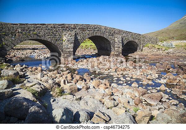 The old bridge at Sligachan on the Isle of Skye, Scotland - csp46734275