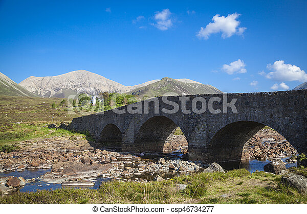 The old bridge at Sligachan on the Isle of Skye, Scotland - csp46734277